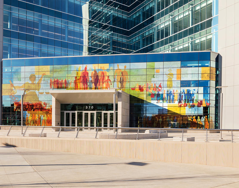 Glass installation designed by Martin Donlin on the façade of the Lowell Justice Center,Lowell, Mass.