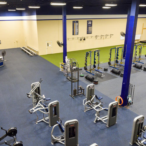 Four flooring surfaces provide safety, ergonomic and acoustic properties for the fitness center.