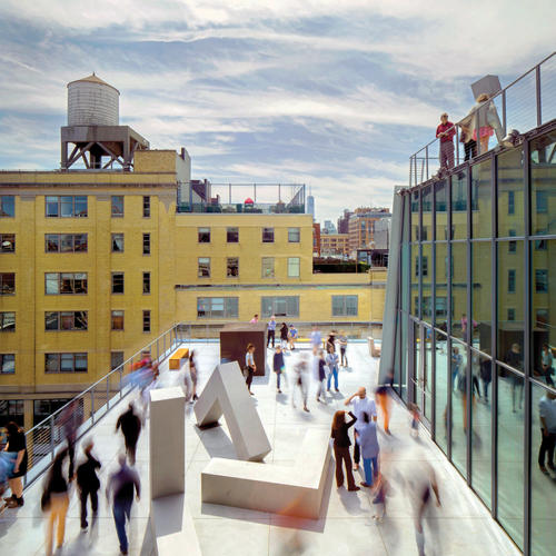 The new Whitney Museum of American Art designed by Renzo Piano, in collaboration with Cooper Robertson, presents art