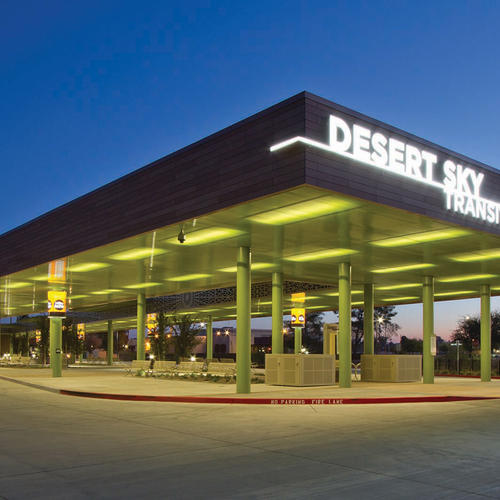 The canopy at the Desert Sky Transit Center provides much-needed relief for riders from the Phoenix sun.