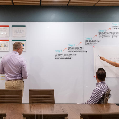 Magnatag's lines of floor-to-ceiling dry-erase wall panels and glass white boards create glass dry-erase wall panels