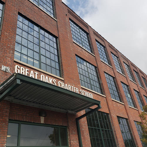 Former American Graphophone Co. now houses the Great Oaks Charter School and a residential space in Bridgeport, Conn.