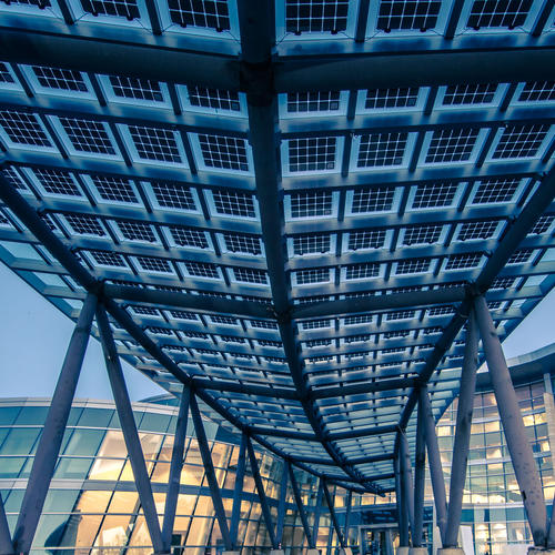 BIPV modules atop a walkway for the Salt Lake City Public Safety Building in Utah