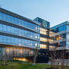 ACM fins and curtainwall clad a new office building along the Chicago River as part of Lincoln Yards revitalization program.